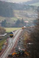 GBRf 66752 slowly propels the tracklaying train south towards Stow Station on 25 November 2014, with 66750 stabled on the up line. <br><br>[Bill Roberton&nbsp;25/11/2014]