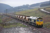 A ballast train just south of Heriot on 25 November. Freightliner locomotives 66605 (nearest) and 66610 in charge.<br><br>[Bill Roberton&nbsp;25/11/2014]