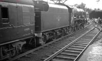 The RCTS <I>Rebuilt Scot Commemorative Rail Tour</I> photographed at Blackburn station on 13 February 1965 behind 46115 <I>Scots Guardsman</I>. The special was on its way from Crewe to Carlisle via the S&C.<br><br>[K A Gray 13/02/1965]
