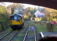 Crompton 33110 runs round a BLS brake van special at Boscarne Junction on 29 November 2014. Notice the Camel Trail footpath and cyclepath to the right: the trackbed ahead leads to Wadebridge [see image 35696] and Padstow.<br><br>[Ken Strachan&nbsp;29/11/2014]