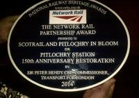 Plaque commemorating a Pitlochry success in the National Railway Heritage Awards (see news item).<br><br>[John Yellowlees Collection&nbsp;03/12/2014]