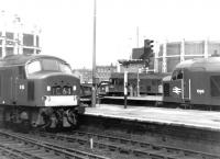 Busy scene at the north end of St Pancras station in the autumn of 1969. Left to right, Peak  D55 <i>Royal Signals</i> arrives with a train from Nottingham, D5227 is about to leave the station with empty stock and D96 is awaiting departure time with the down <I>Thames-Clyde Express</I>.<br><br>[John Furnevel&nbsp;05/09/1969]