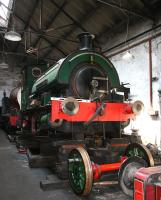 Inside Marley Hill shed on the Tanfield Railway in May 2006. The preserved steam locomotive receiving attention is 0-4-0ST <i>Sir Cecil A Cochrane</i> (RSH 7409/1948).<br><br>[John Furnevel&nbsp;09/05/2006]