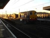 A Yorkshire circuit RHTT working, with 20305 leading and 20304 tailing, photographed on 3 December. The train is running north into Wakefield Westgate on the down through road shortly after 08.30, with the high pressure jets operational for a short distance further. <br><br>[David Pesterfield&nbsp;03/12/2014]