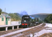 Bulleid West Country Pacific 34072 <I>257 Squadron</I> at Norden on the Swanage Railway in July 1999.<br><br>[Peter Todd&nbsp;18/07/1999]