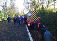 A 'seminar shot' in preparation at Coleslogett Halt on 29 November; the trip organizers being the Branch Line Society. [See image 49647]<br><br>[Ken Strachan&nbsp;29/11/2014]