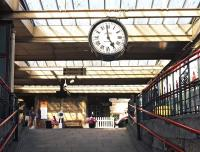 A 'brief encounter' with the famous station clock at Carnforth on 7 August 2014. <br><br>[Bill Jamieson&nbsp;07/08/2014]
