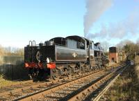 Ivatt 2-6-0 46447 in action on the East Somerset Railway on 13 December 2014.<br><br>[Peter Todd&nbsp;13/12/2014]