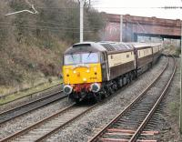 <I>Pullman</I> liveried 47790 leads a <I>Northern Belle</I> tour through Hest Bank on 16 December heading for Barrow-in-Furness. The train originated in Crewe and ran via Manchester and Bolton with 47818 on the rear. [See image 46137] of the same loco in an earlier guise on more mundane duties. <br><br>[Mark Bartlett&nbsp;16/12/2014]