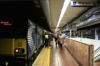 Evening rush hour at Argyle Street station on 15th December 2014, the first week day of the new timetable which extended the newly electrified Whifflet traffic to Motherwell and Milngavie.<br><br>[Colin McDonald&nbsp;15/12/2014]