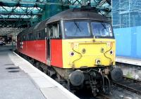 One of the east end bays at Waverley plays host to 47780 one morning in June 2002. The EWS locomotive is still sporting its former <I>Rail Express Systems</I> livery.<br><br>[John Furnevel&nbsp;04/06/2002]
