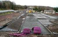 Sunday morning scene at Gorebridge, looking south on 21 December 2014, with work well advanced on the station car park. Most activities are now on hold for the Christmas and New Year holiday period.<br><br>[John Furnevel&nbsp;21/12/2014]
