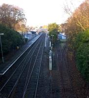 The Network Rail Track Rationalization Team has obviously not visited St Austell, with a crossover on the left, and at least two sidings by the car park on the right. View towards Penzance on 29 November.<br><br>[Ken Strachan&nbsp;29/11/2014]