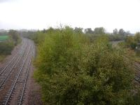 View south from Rotherham Masboro in October 2014, with the Midland Railway old main line to Chesterfield, bypassing Sheffield, on the left and the current main line to the right. Note the severe curve prior to the latter reaching the junction with the Holmes Chord line from Rotherham Central. [See image 49308 for the view north from the same bridge.] <br><br>[David Pesterfield&nbsp;13/10/2014]