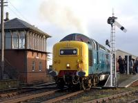 Deltic 55022 <I>Royal Scots Grey</I> departs Bo'ness on 27 December with the 12.30 to Manuel.<br><br>[Bill Roberton&nbsp;27/12/2014]