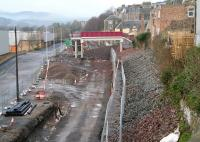 An additional footbridge has been built over the trackbed from Low Buckholmside, Galashiels, seen here looking north west from above Ladhope Tunnel on 26 December 2014. [See image 45620]  <br><br>[John Furnevel&nbsp;26/12/2014]