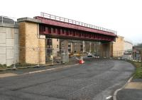 The new bridge taking the Borders Railway over Currie Road, Galashiels, looking south on 26 December 2014, with scaffolding now removed and 2-way traffic restored.<br><br>[John Furnevel&nbsp;26/12/2014]