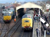 The Bo'ness Diesel Gala on 27 December sees Deltic 55022 bringing up the rear of an arrival from Manuel. In the background DCR 31601 and 26038 wait to take over.<br><br>[Bill Roberton&nbsp;27/12/2014]
