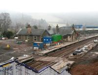 A Boxing Day mist moves in from the south at Stow during the afternoon of 26 December 2014. The temporary crossing created here for construction traffic is strangely reminiscent of the barrow crossing that once existed at the other end of the station [see image 23820].  <br><br>[John Furnevel&nbsp;26/12/2014]