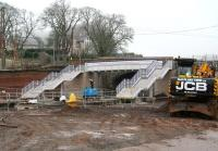 The new station footbridge under construction at Stow on 26 December 2014.<br><br>[John Furnevel&nbsp;26/12/2014]