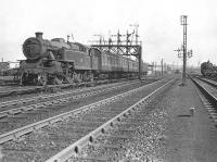 42243 approaching Rutherglen station on 17 May 1957 with a terminating service from Balloch. <br><br>[G H Robin collection by courtesy of the Mitchell Library, Glasgow&nbsp;17/05/1957]