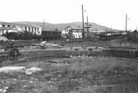 A view north west across the former turntable pit towards Aviemore signal box in April 1979. There appear to be one or two turntable parts in the pit which have probably arrived from Kyle of Lochalsh. A few years later they were re-assembled and the turntable returned to service. [See image 5329]<br><br>[John McIntyre&nbsp;/04/1979]