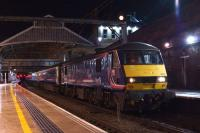 90021 stands at platform 4 of Preston station at just before 0100 on 6 January 2015 with the Aberdeen/Fort William/Inverness sleeper. The train will divide at Edinburgh Waverley.<br><br>[John McIntyre&nbsp;06/01/2015]