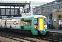 A Brighton - Watford Junction cross - London peak hour service operated by a Southern Trains class 377 EMU about to restart from Kensington Olympia on 22 July 2005.<br><br>[John Furnevel&nbsp;22/07/2005]