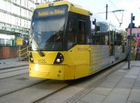 Metrolink tram 3025 photographed at Shudehill Interchange on 2 January 2015 with a service to Rochdale.<br><br>[Veronica Clibbery&nbsp;02/01/2015]