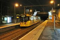<I>The first of quite a few</I>. Metrolink 3001 calls at Dane Road with an evening service from Altrincham to Cornbrook. Dane Rd opened in 1931 when the MSJ&A was electrified. The M5000 fleet of trams was steadily expanded from its introduction in 2009 until, with the final 2016 delivery, it numbers 120 sets. <br><br>[Mark Bartlett&nbsp;08/01/2015]