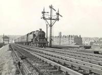 Fairburn 2-6-4 tank 42191 gets the <I>L&A</I> distant at Cathcart North Junction on 30 August 1957 with a train for Whitecraigs.