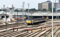 View over Old Oak Common sidings in July 2005 from the wall alongside the towpath of the Grand Union Canal.<br><br>[John Furnevel&nbsp;21/07/2005]