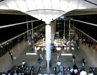 View from the top of the escalators at the cavernous Canary Wharf Jubilee Line Underground station in July 2005. [See image 5220]<br><br>[John Furnevel&nbsp;22/07/2005]
