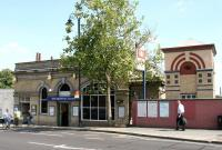West Brompton station in July 2005 showing the original District Line building with the newer West London Line construction to the right.<br><br>[John Furnevel&nbsp;22/07/2005]