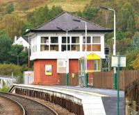 The signalling centre at Banavie, looking west along the platform in September 2005.<br><br>[John Furnevel&nbsp;28/09/2005]