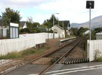 The level crossing at Corpach station, looking east towards Fort William in September 2005.<br><br>[John Furnevel&nbsp;30/09/2005]