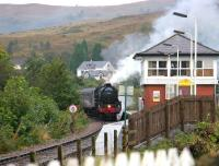 <i>The Jacobite</i> crossing the swing bridge into Banavie station on 25 September 2005 on its way back from Mallaig to Fort William.<br><br>[John Furnevel&nbsp;25/09/2005]