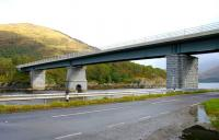 Road bridge deck on rail bridge supports. Creagan Viaduct, which once carried the Ballachulish branch over Loch Creran. The bridge was subsequently converted to carry road traffic. View north in September 2005.<br><br>[John Furnevel&nbsp;29/09/2005]