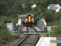 Train for Mallaig crossing the Caledonian Canal at Banavie in September 2005.<br><br>[John Furnevel&nbsp;28/09/2005]