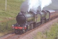 K4 No.3442 <i>The Great Marquess</i> and K1 No.2005 near Bridge of Orchy with a West Highland Centenary Special for Fort William in 1994.<br><br>[John Gray&nbsp;//]