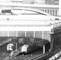 A Deltic about to leave Waverley in March 1972 with a London Kings Cross train.<br><br>[John Furnevel&nbsp;31/03/1972]