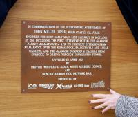 The commemorative plaque to engineer John Miller unveiled at Ayr on 25 April 2012 by Provost Winifred Sloan [see adjacent news item].<br><br>[ScotRail&nbsp;25/04/2012]