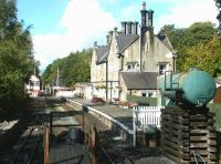 Looking north west over Alston station from the A686 Station Road in September 2003.<br><br>[John Furnevel&nbsp;22/09/2003]