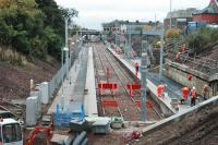 Looking north over Larkhall station in a nearly complete state.<br><br>[Ewan Crawford&nbsp;23/10/2005]