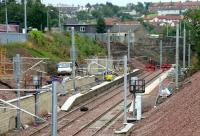 Progress on the new Larkhall station, 17 July 2005. Looking south from Raploch Street towards the buffer stops.<br><br>[John Furnevel&nbsp;17/07/2005]