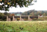 Autumn scene at Cargill viaduct, Perthshire, spanning the River Tay on the former Caledonian main line between Stanley Junction and Coupar Angus. The last passenger train is recorded as making the crossing in June 1982. Photographed looking north west on 13 November 2005. [See image 37281]<br><br>[John Furnevel&nbsp;13/11/2005]