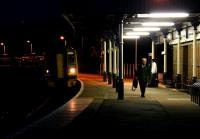 Last train of the day for Inverness arriving at Forres in November 2005.<br><br>[John Furnevel&nbsp;04/11/2005]