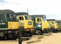 Lazy Sunday Afternoon. A few not so Small Faces relaxing over the weekend at Crewe north stabling point in September 1969. In the picture are D5024, D1962, D404, D1707 and D5010.<br><br>[John Furnevel&nbsp;07/09/1969]