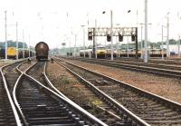 Looking north through Mossend Yard in 1996 with the locomotive holding sidings in the right background.<br><br>[John Furnevel&nbsp;01/07/1996]