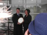 The 'official' opening of the Airdrie - Bathgate line took place on 8 March 2011. As part of the ceremony transport minister Keith Brown handed out commemorative clocks to community leaders.<br><br>[John Yellowlees&nbsp;08/03/2011]